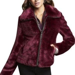Like New Express Faux Fur Long Sleeve Zip Jacket